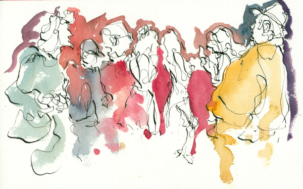 Crowd-III-at-Hopmonk-Tavern-Sebastopol-CA-dip-pen-watercolor-live-chriscarterartist-112414-600